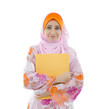 malay indonesian college girl holding a folder with white backgr
