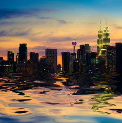 kuala lumpur skyline, the capital of malaysia view from a lake