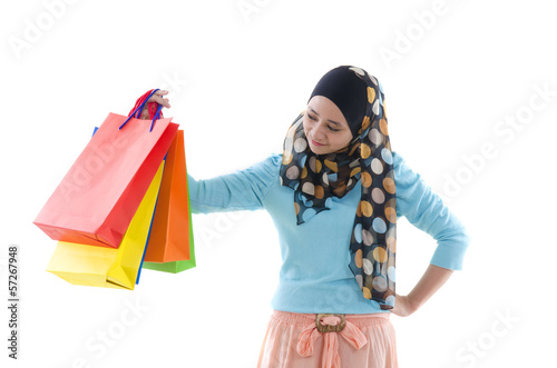 malay indonesian girl with shopping bags