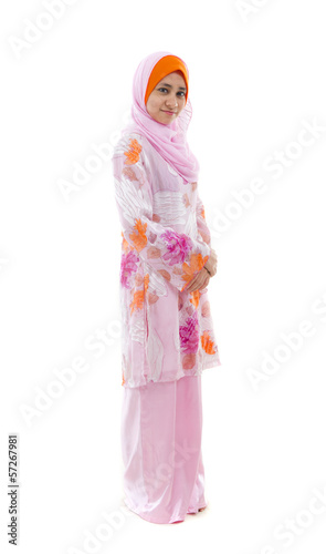 malay muslim girl in headscarf full body and white background