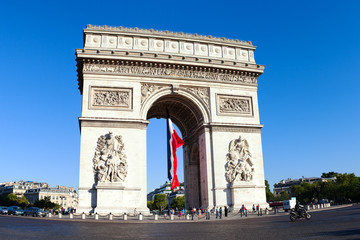 French flag in Paris Triumphal arch.