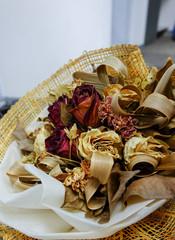 close up dry rose bouquet