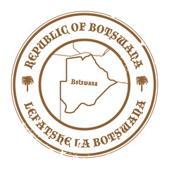 Stamp with the name and map of Botswana, vector