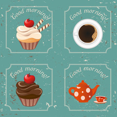 Illustration - Retro illustration with tea, cupcakes and a cup o