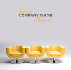 Three yellow leather armchairs