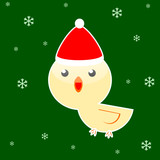 Christmas cute bird isolated on green