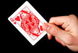 Holding Red Queen card