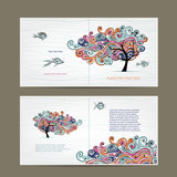 Print design, cover and inside page with wavy tree