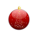 Christmas tree on red ball
