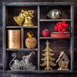 Christmas decorations in a vintage wooden box