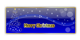 Blue glossy christmas banner with tree