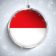 Merry Christmas Silver Ball with Flag Monaco