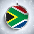 Merry Christmas Silver Ball with Flag South Africa