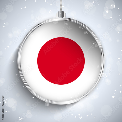 Merry Christmas Silver Ball with Flag Japan