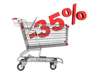 shopping cart with 35 percent discount isolated on white backgro