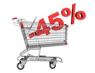 shopping cart with 45 percent discount isolated on white backgro