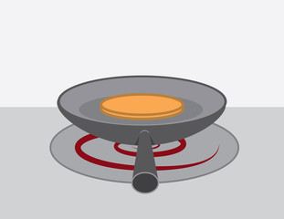 Pancake in a pan on a stove burner