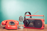 Retro telephone, radio cassette player, headphones, microphone