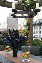 Table setting on terrace in city