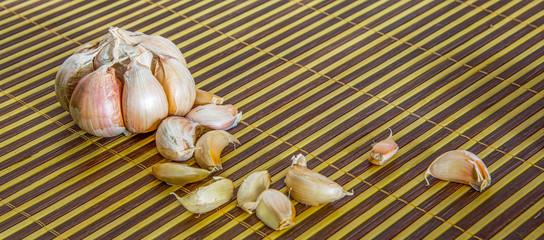 Garlic on a bamboo mat