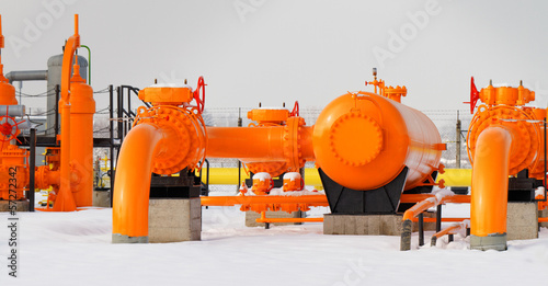 Leinwanddruck Bild Orange gas pipe