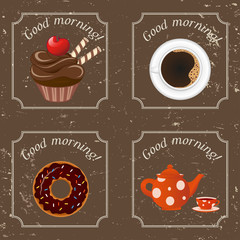Illustration - Retro illustration with tea, cupcakes and a coffe