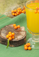 Sea-buckthorn and hot drink of berries