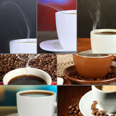 Collage of delicious coffee