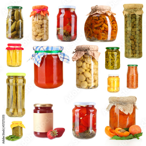 Set of canned vegetables and fruits isolated on white
