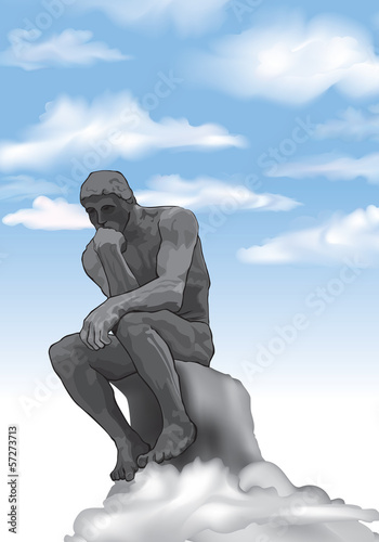 Thinker man concept illustration. French Sculptor Rodin Statue