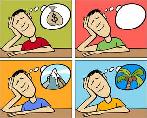 dreaming man concept cartoon illustration