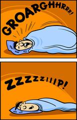 snoring man cartoon comic illustration