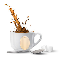 White cup with tea-bag over isolated background.