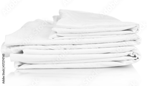 Close up of bedding sheets isolated on white