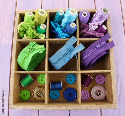 Multicolored skeins of thread with fasteners and buttons in box