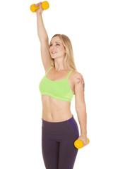 fitness woman green bra weights one up