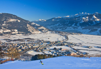Ski resort Zell am See, village Schuttdorf. Austria. Alps at win