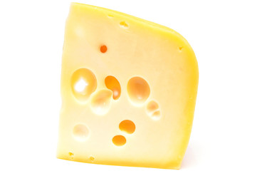 Maasdam cheese on a white background