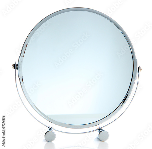 Silver makeup mirror isolated on white
