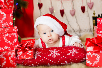 Small baby in santa hat