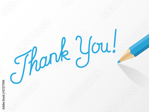 THANK YOU written in blue pencil (very much thanks)