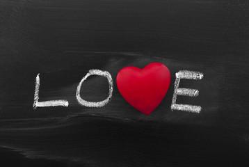 Love title drawn with chalk on blackboard