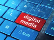 Advertising concept: Digital Media on computer keyboard backgrou