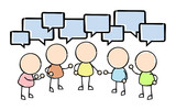 Group Conversation with Speech Bubbles