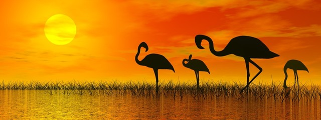 Flamingos by sunset - 3D render