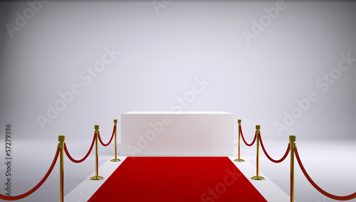 The red carpet and white box. Gray background