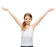 smiling teenage girl with raised hands