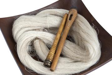 Raw silk yarn and spools of old loom