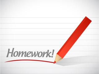 homework written message illustration