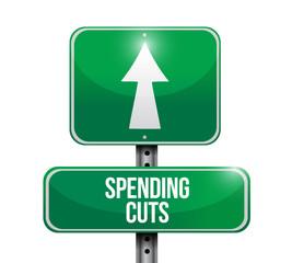 spending cuts road sign illustrations design
